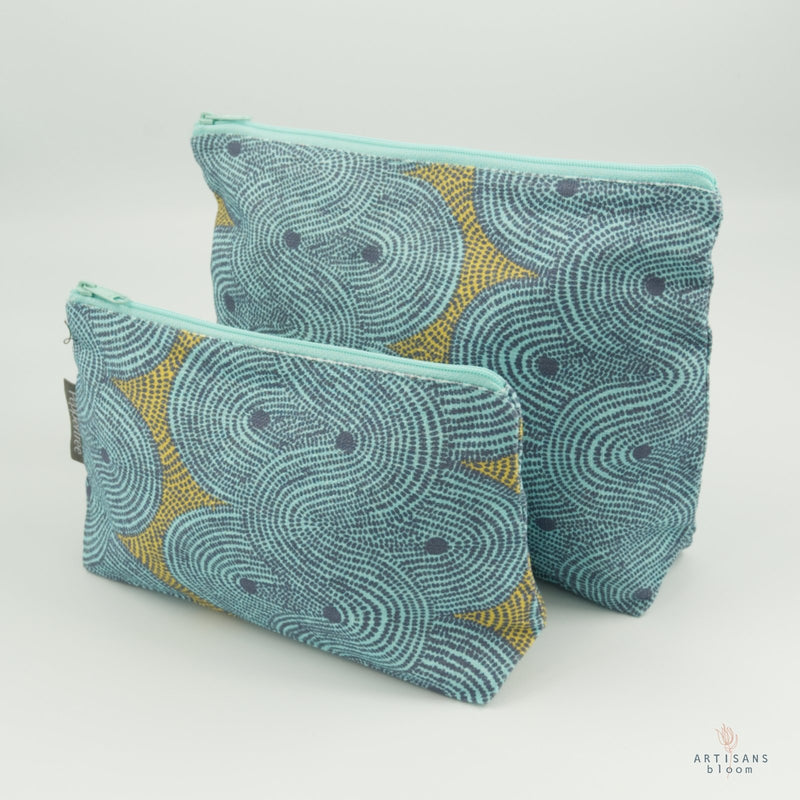 Make Up Bag - Crop Field Aqua - Artisans Bloom