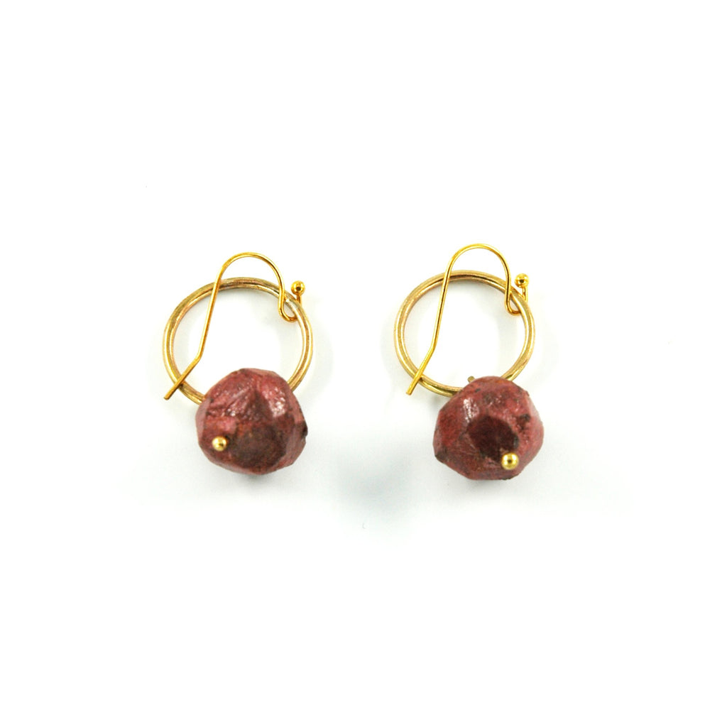 Nugget Circle Earrings - Burgandy - Artisans Bloom