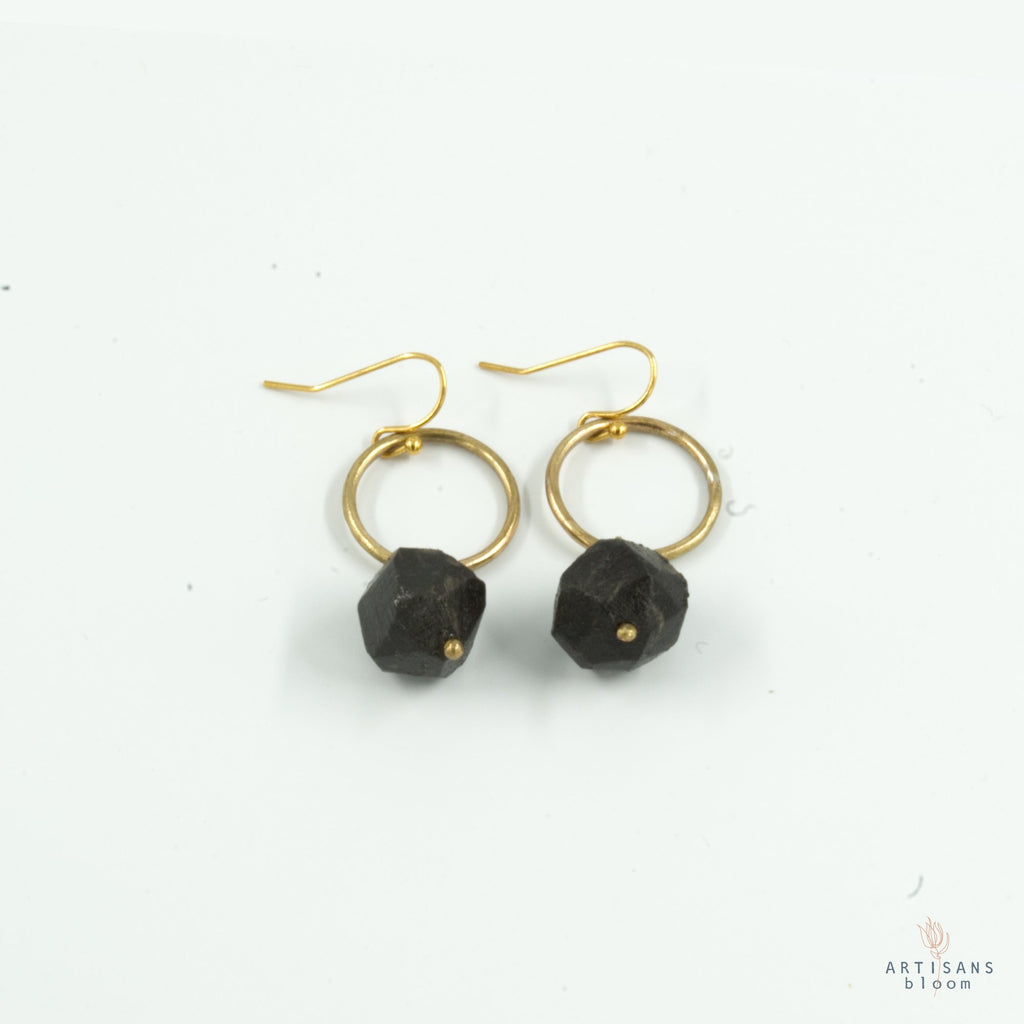 Nugget Circle Earrings - Charcoal - Artisans Bloom