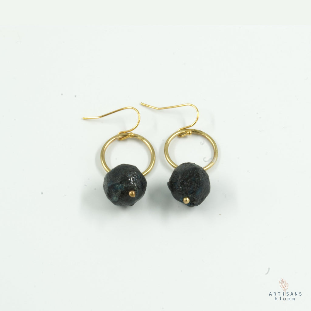 Nugget Circle Earrings - Navy - Artisans Bloom