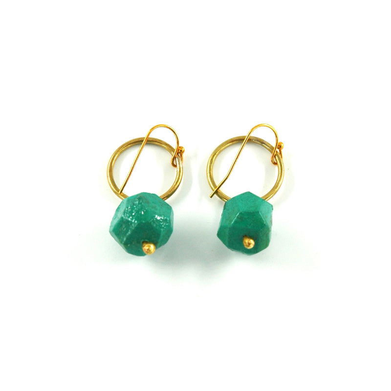 Nugget Circle Earrings - Turquoise - Artisans Bloom