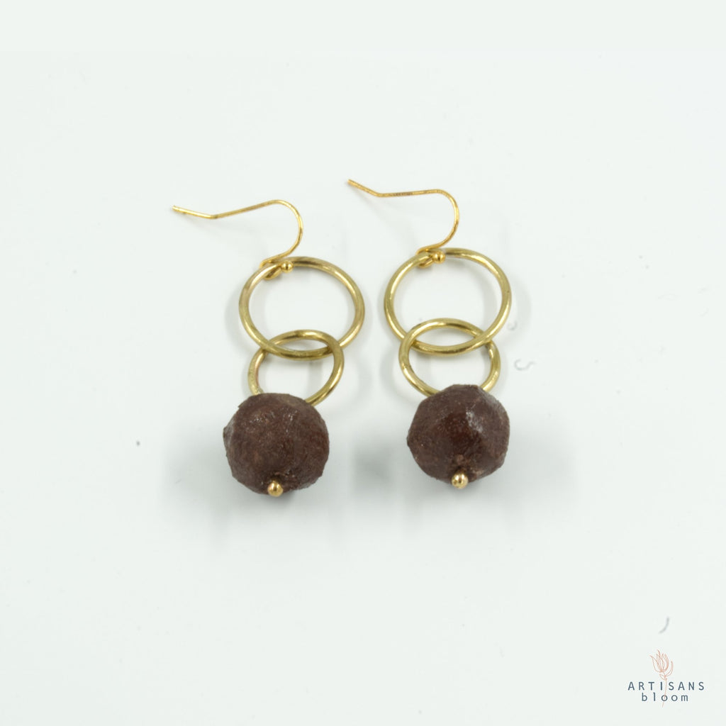 Nugget Double Circle Earrings - Burgandy - Artisans Bloom