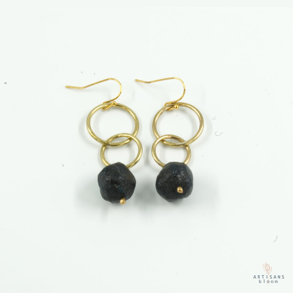 Nugget Double Circle Earrings - Charcoal - Artisans Bloom