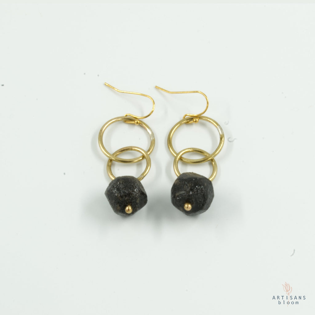 Nugget Double Circle Earrings - Navy - Artisans Bloom