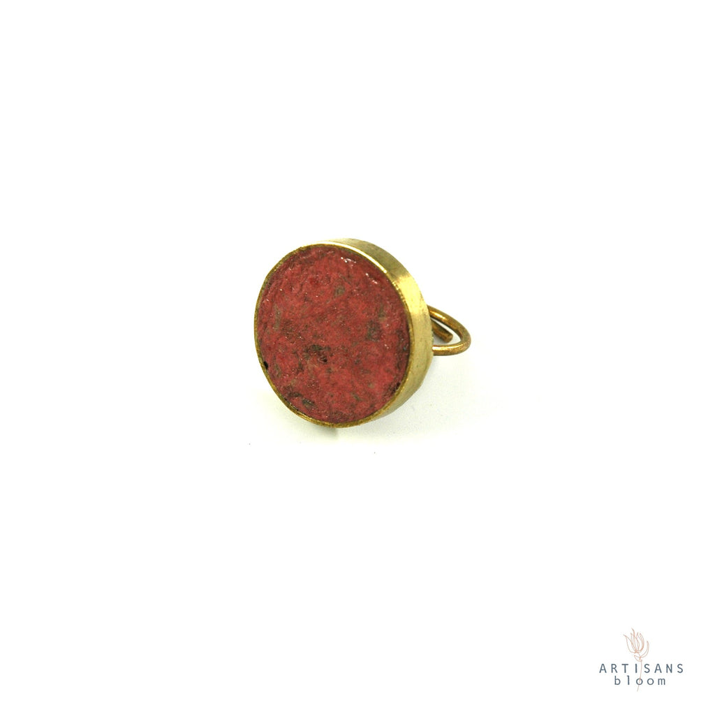 Pulp Rock Ring - Round - Burgandy - Artisans Bloom