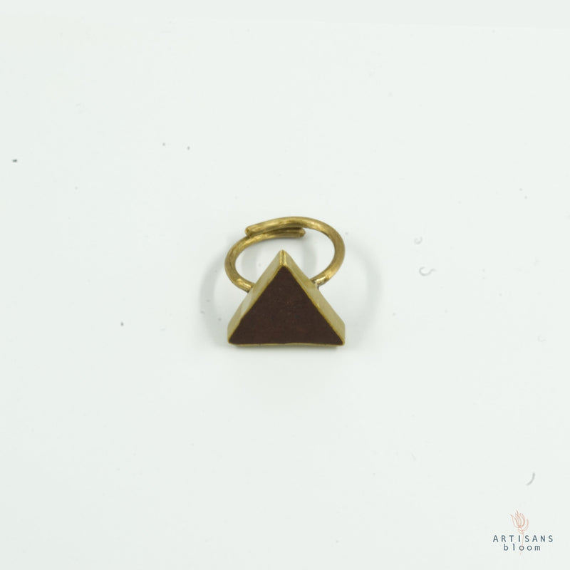 Pulp Rock Ring - Triangle - Burgandy - Artisans Bloom