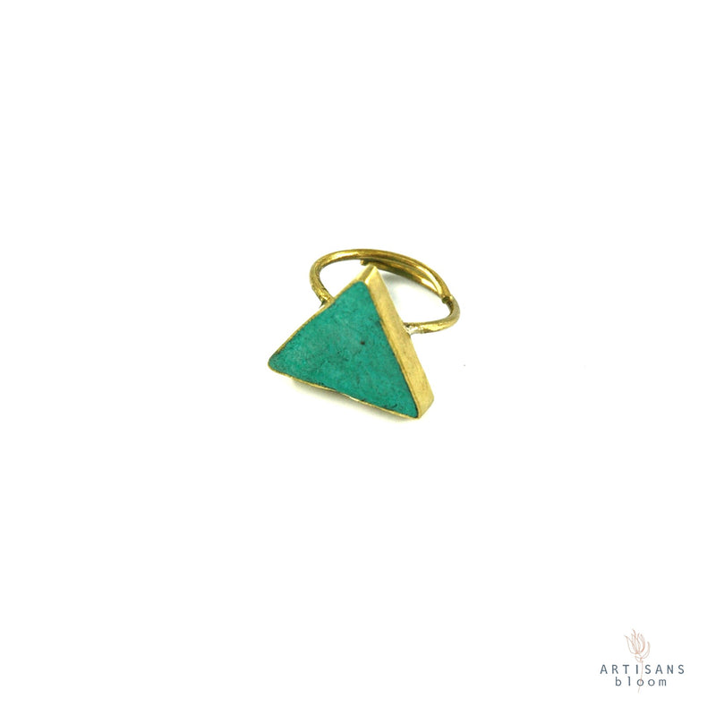 Pulp Rock Ring - Triangle - Turquoise - Artisans Bloom