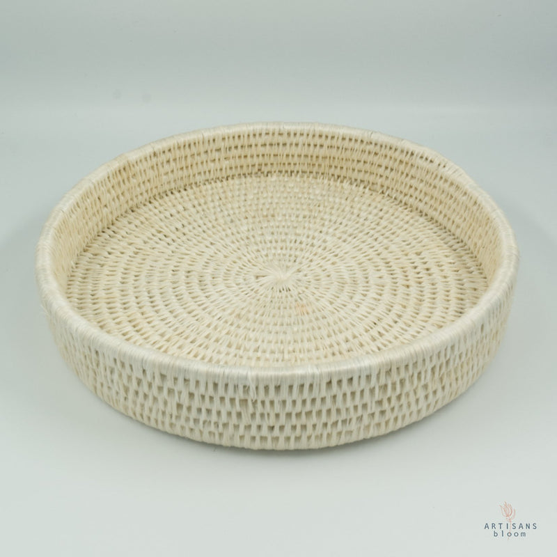 Round Lavumisa Tray - White - Artisans Bloom