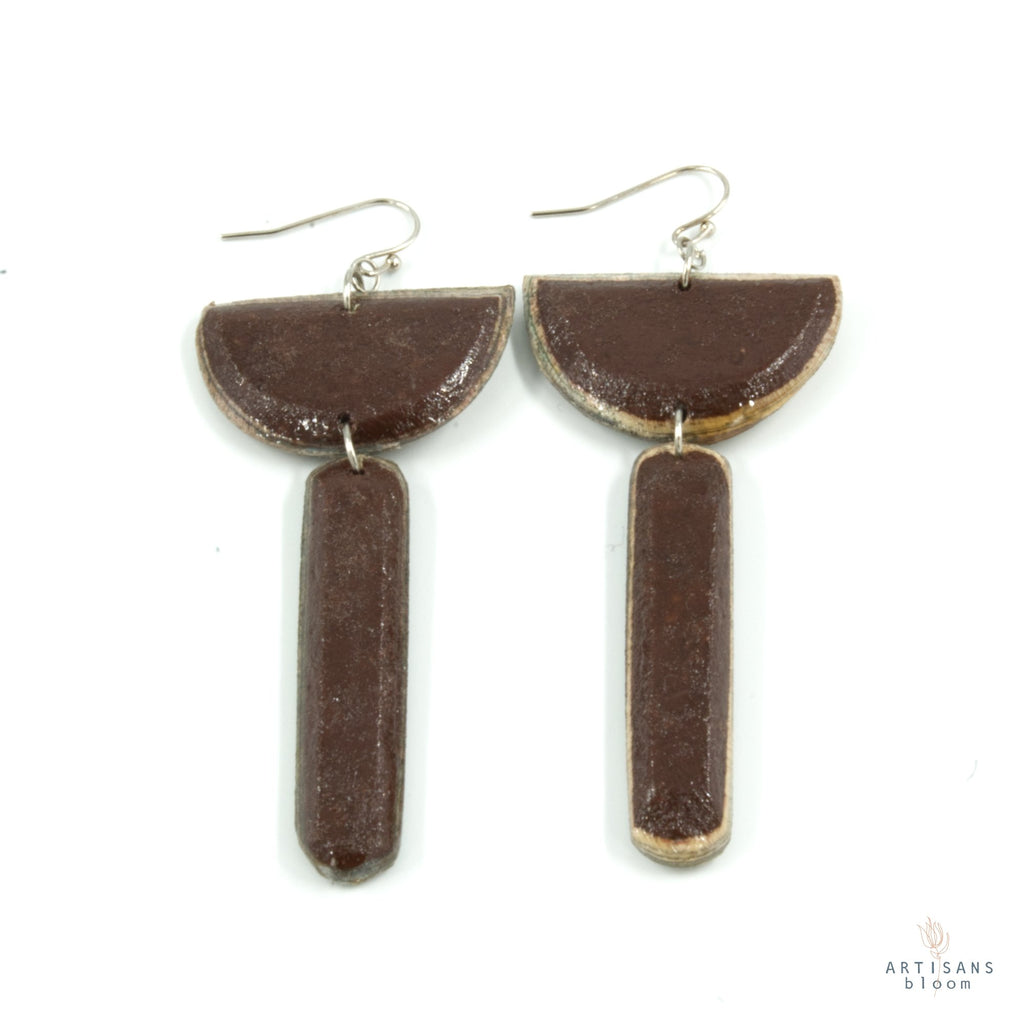 Sibongile Pulp Earrings - Burgandy - Artisans Bloom