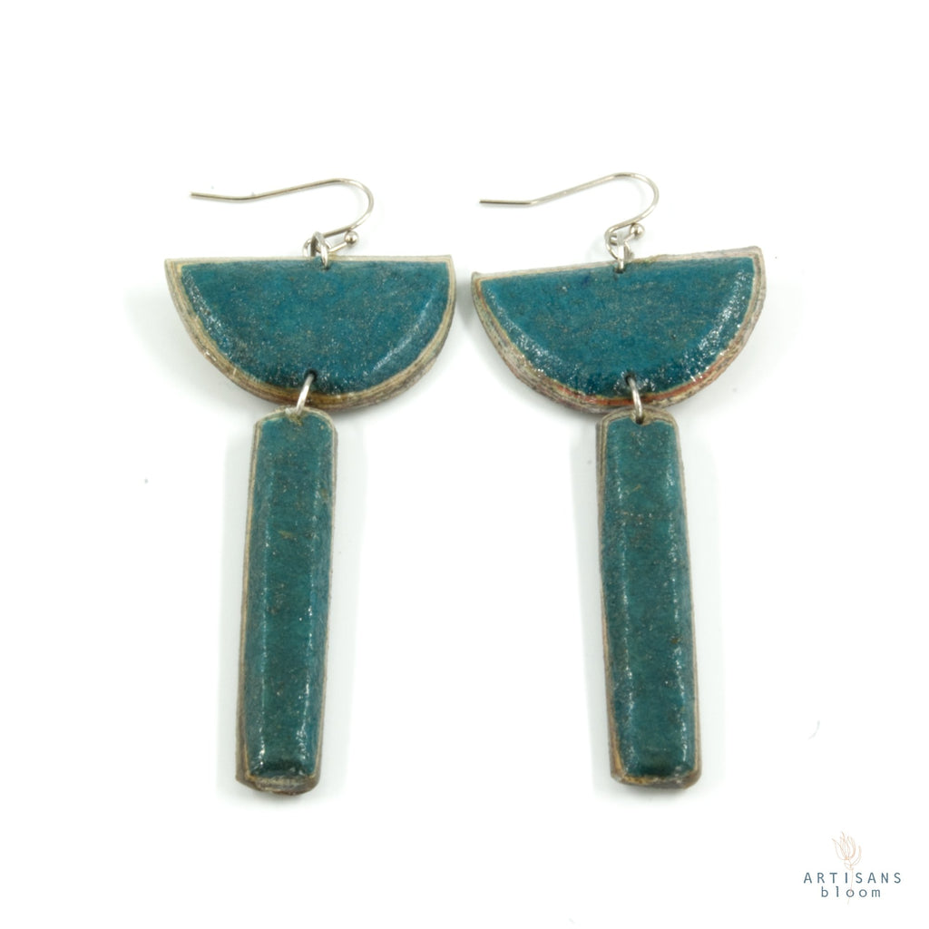 Sibongile Pulp Earrings - Teal - Artisans Bloom