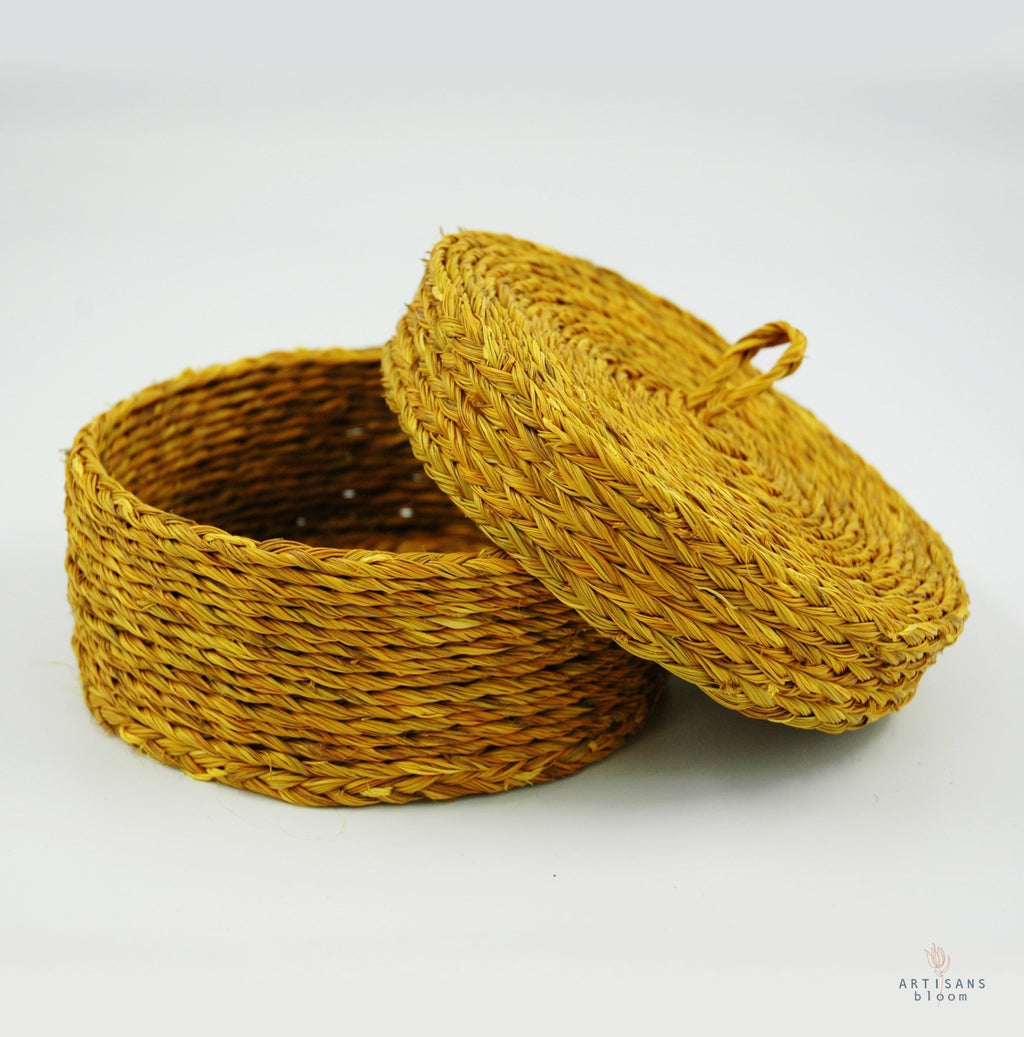 Small Lidded Basket - Mustard - Artisans Bloom