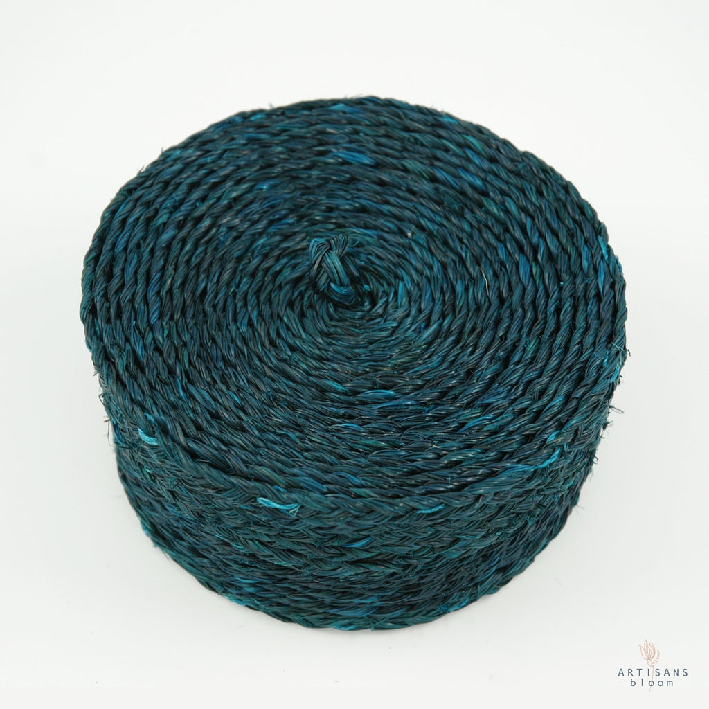 Small Lidded Basket - Teal - Artisans Bloom