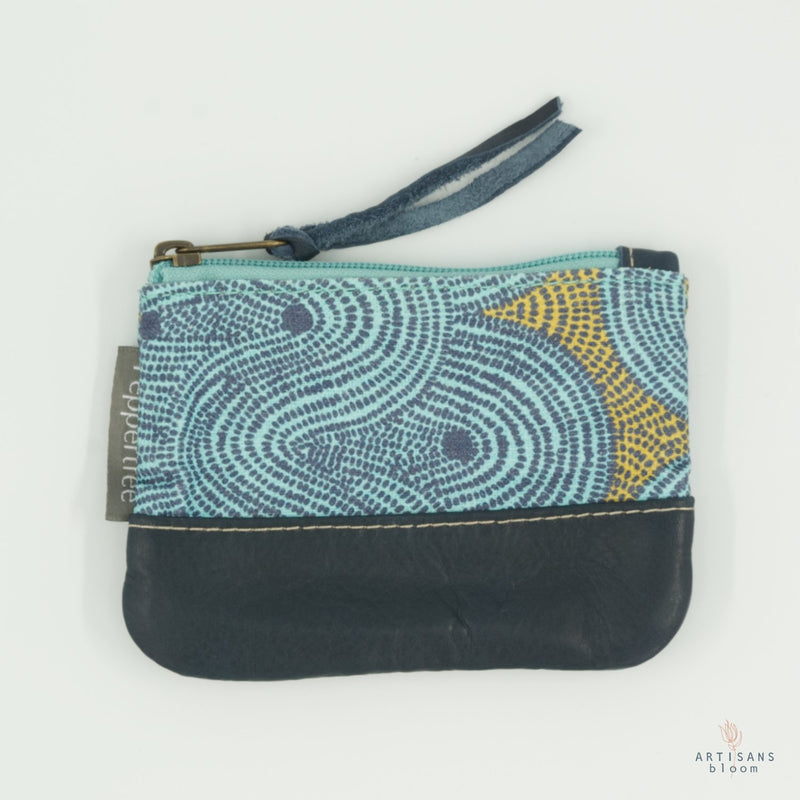 Small Zip Purse - Crop Field Aqua - Artisans Bloom