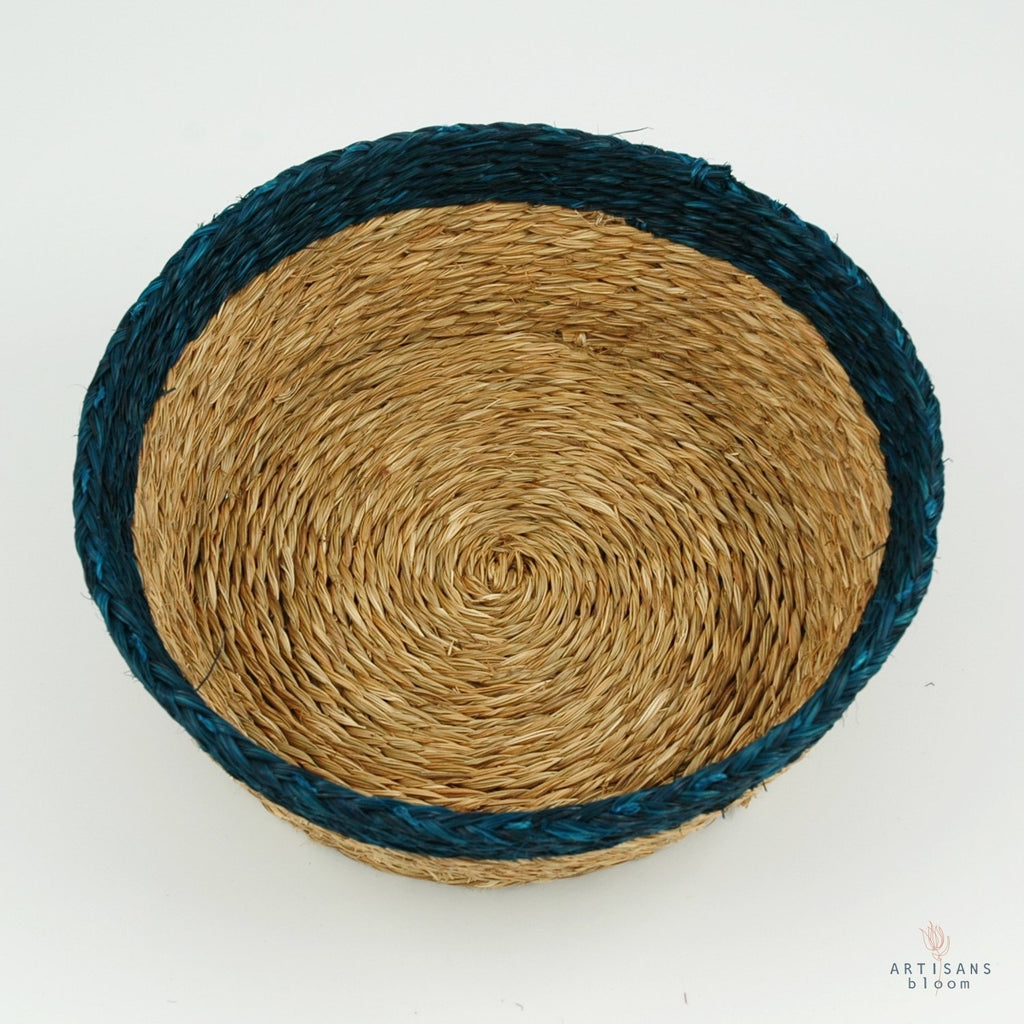 Teal Trim Basket - 18cm - Artisans Bloom