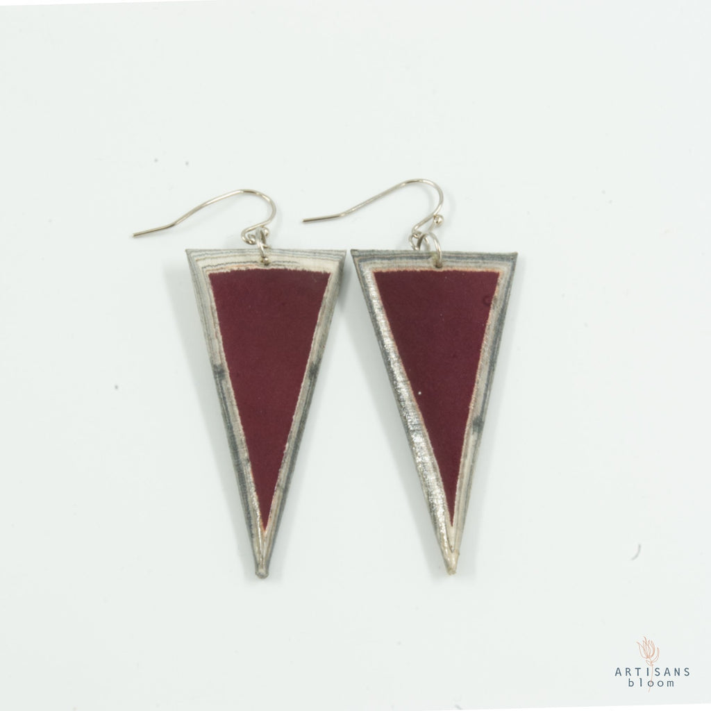 Triangle Earring - Burgandy - Artisans Bloom