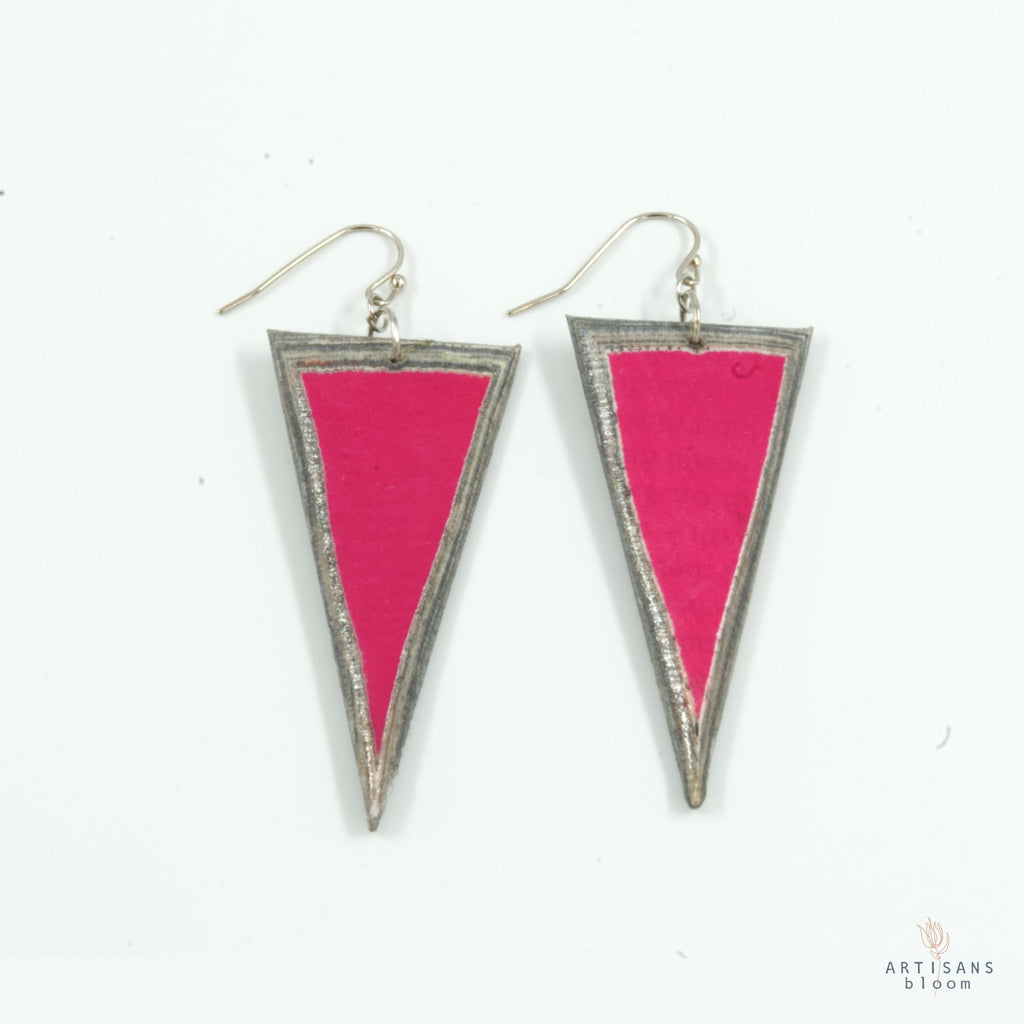 Triangle Earring - Pink - Artisans Bloom