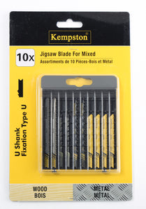 88082  U-Shank Jigsaw Blade Set For Wood and Metal Mixes 10pcs