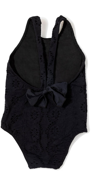 Black Embossed Stretch Eyelet Bow One Piece
