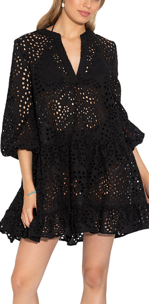 Black Eyelet Cover Up Umbrella Mini Dress