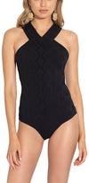 Black Embossed Stretch Eyelet High Neck One Piece