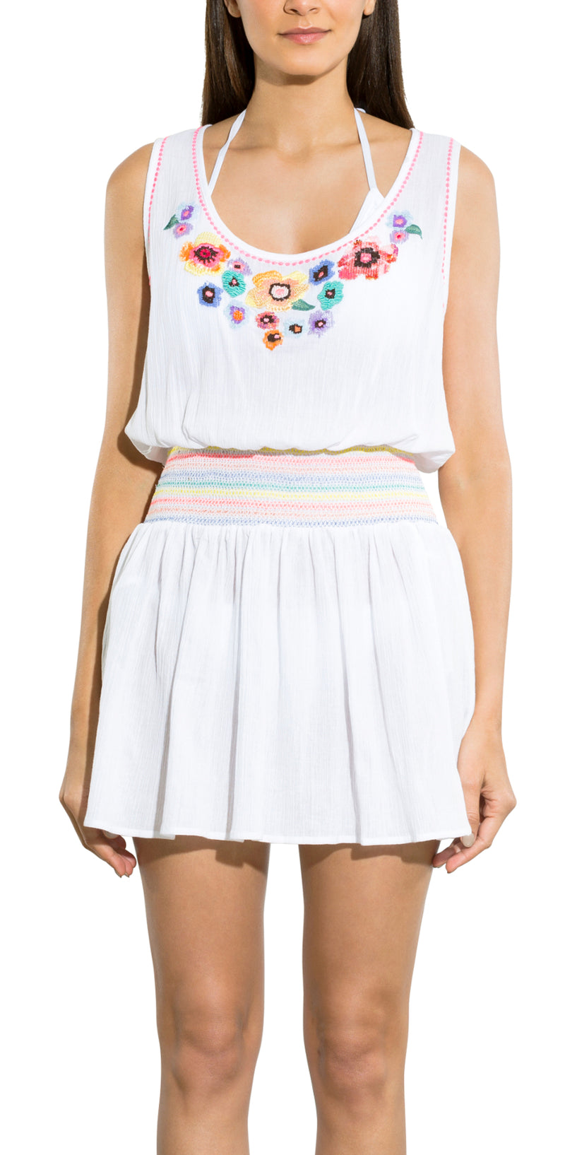 Rainbow Floral Sequin Smock Waist Tank Dress