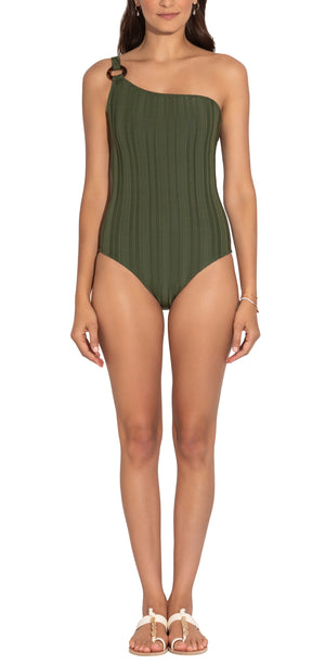 Textured Olive Stretch Ring One Shoulder One Piece