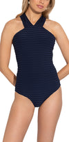 Waterbury Ottoman Stripe High Neck One Piece