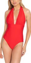 Cherry Red Solid Deep V Halter One Piece