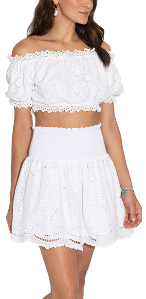 White Chateau Eyelet Smocked Mini Skirt