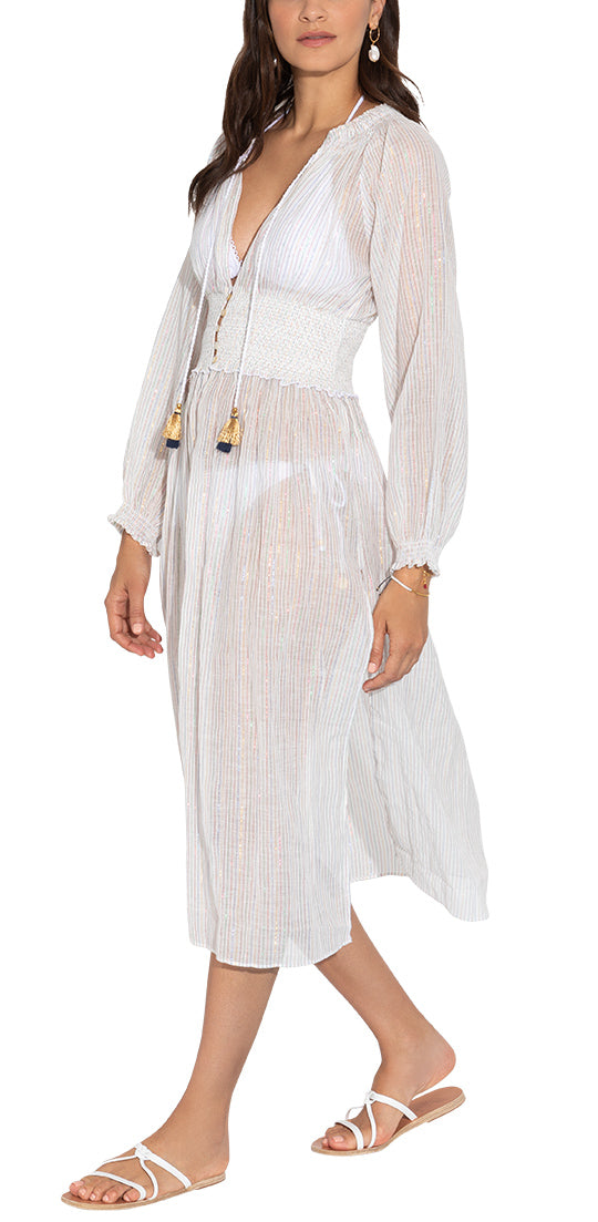Multi Lurex Stripe Smocked Duster Cover Up