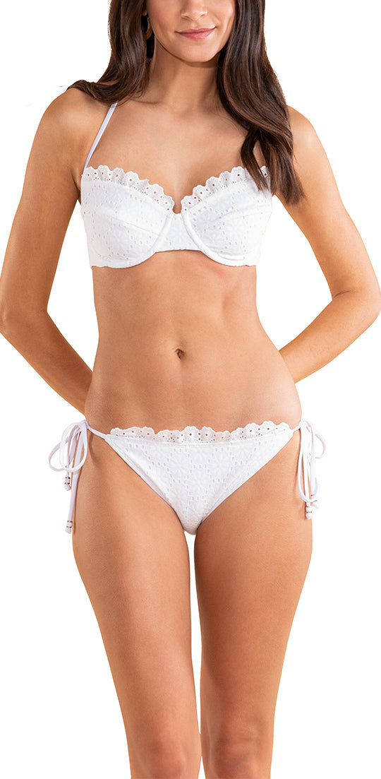 White Mesh Floral Eyelet Bra Halter Top with Ruffle