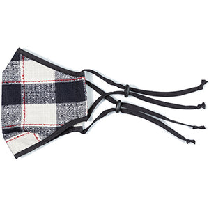 Black and Ivory Plaid Mask