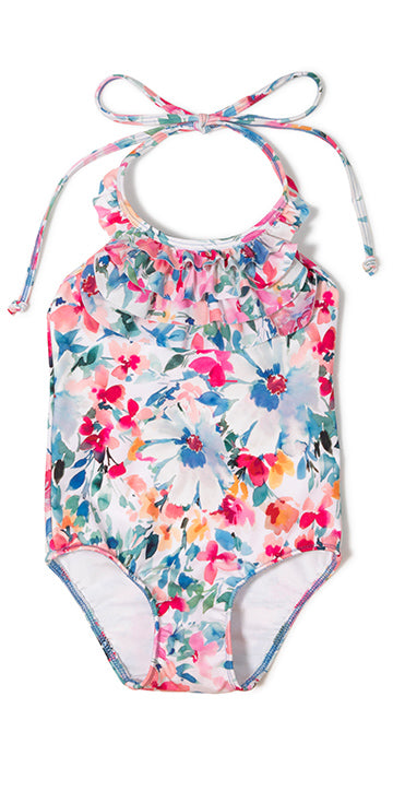 Arabesque Floral Ruffle One Piece