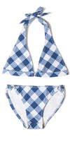Textured Printed Check Bow Bikini