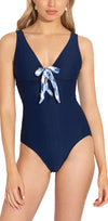 Navy Texture Lace Up One Piece