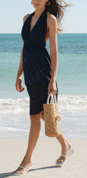 Navy Wave Cotton Eyelet Halter Midi Dress