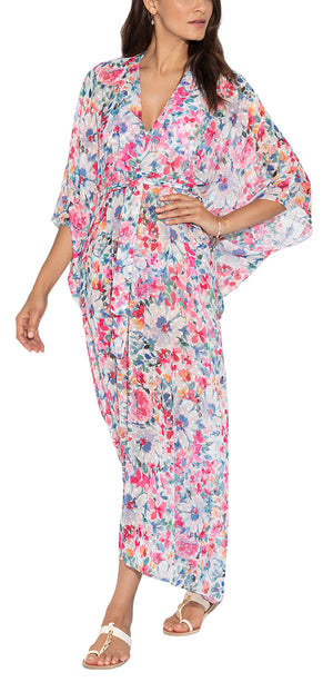 Arabesque Floral Print Long Caftan