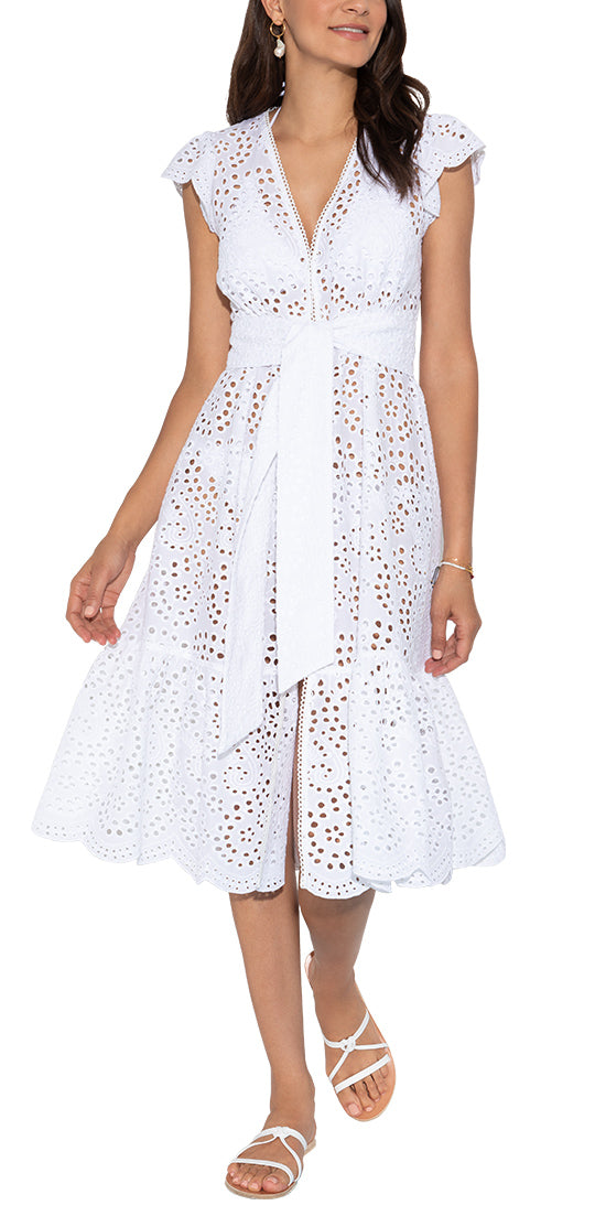 White Eyelet Cover Up Hankerchief Midi Dress