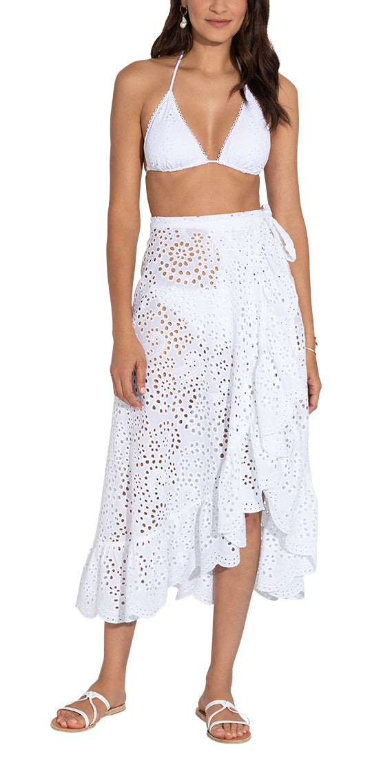 White Eyelet Cover Up Ruffled Wrap Skirt