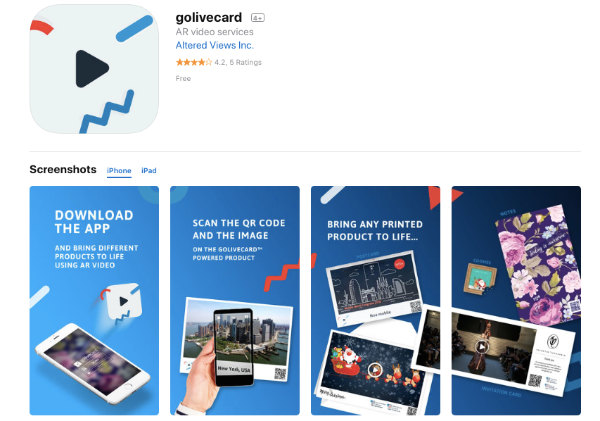 golivecard AR app on App Store
