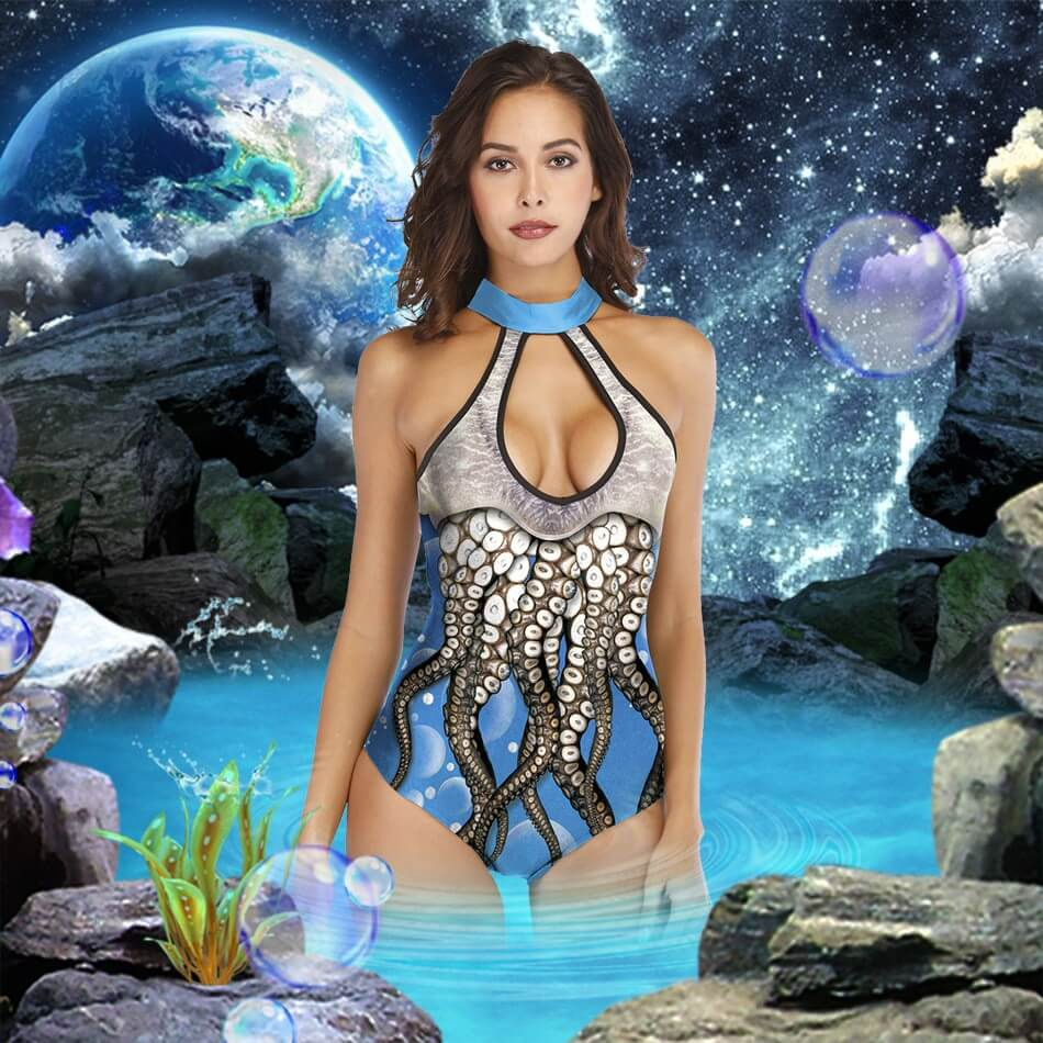 Blue Octopus Keyhole Front Cutout Back Padded One Piece Swimsuit details 1