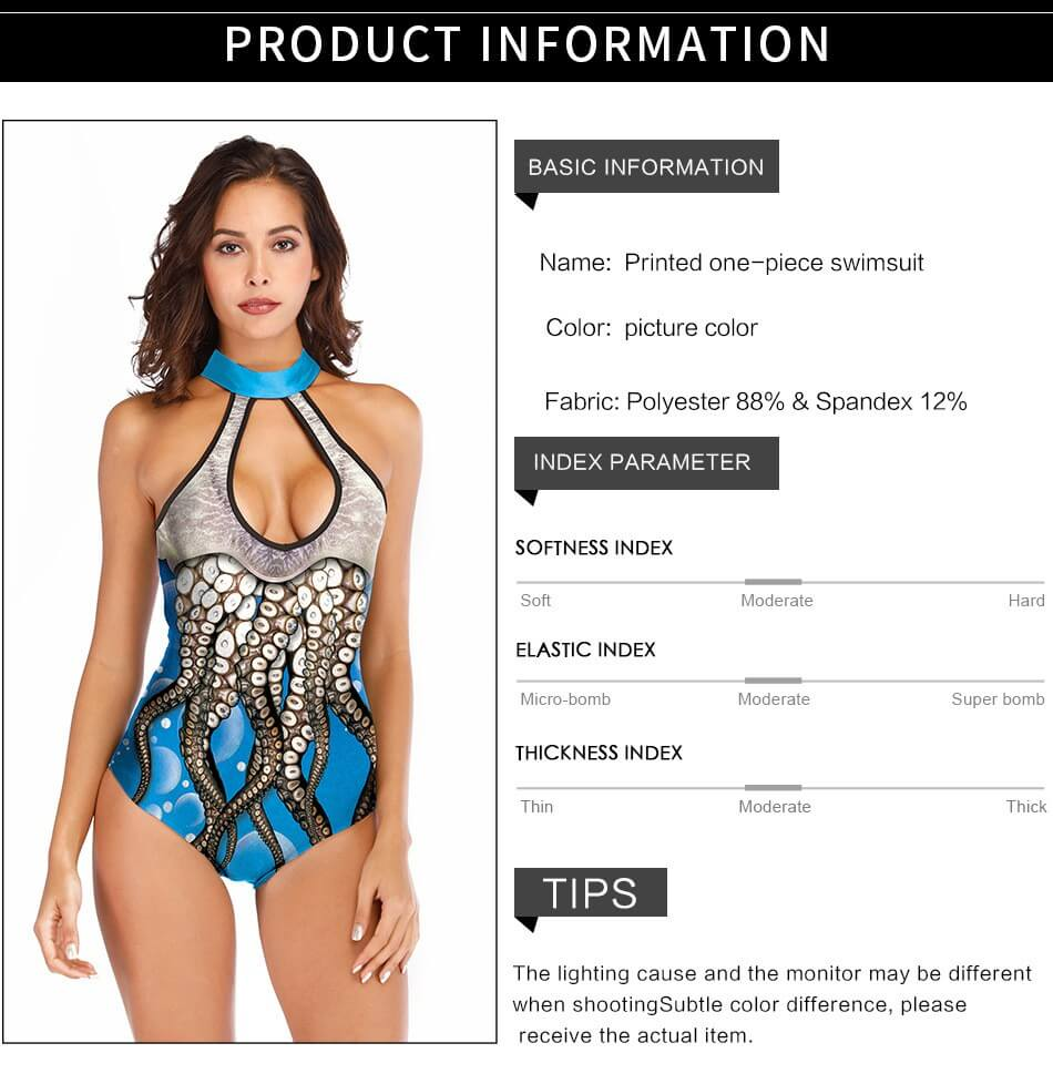 Blue Octopus Keyhole Front Cutout Back Padded One Piece Swimsuitdetails 4