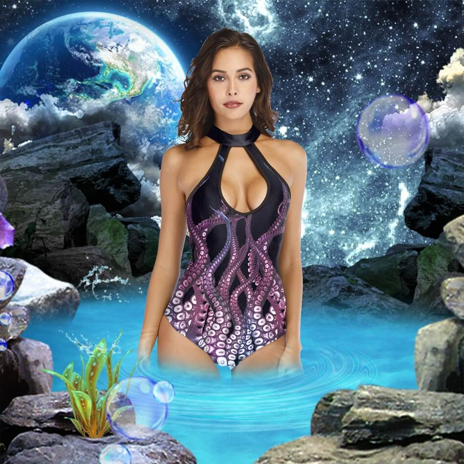 Black Purple Octopus Print Cutout Padded One Piece Swimsuit Monokini details 1