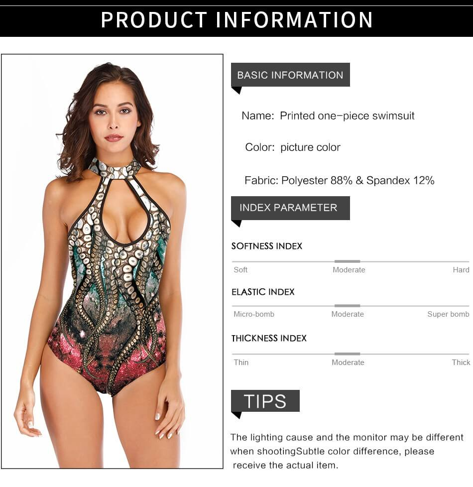 Brown Cutout Back Padded Octopus Print One Piece Swimsuit Monokinidetails 4