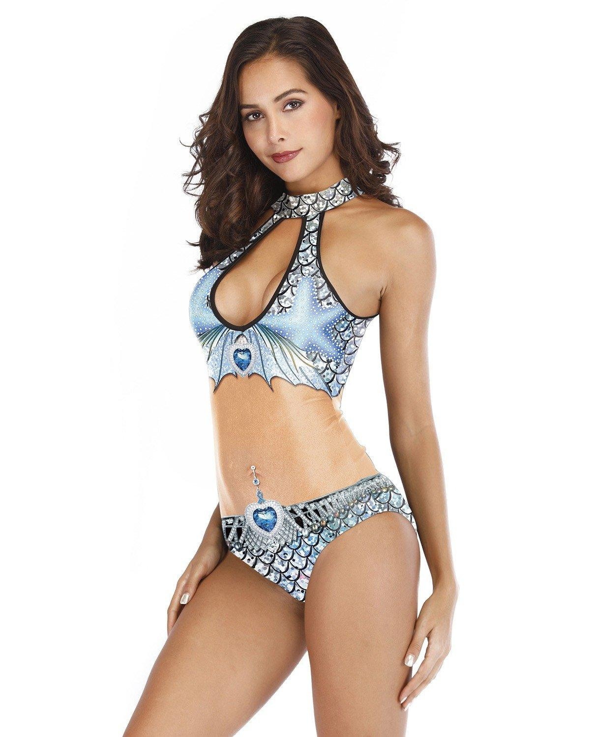 Blue Fish Scale Bikini Style Print Mermaid Monokini One Piece Swimsuit