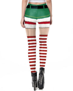 Christmas Elf Shorts Candy Stocking Prints Womens Leggings
