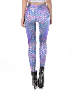 Light Purple Colorful Fish Scale With Fins Mermaid Leggings