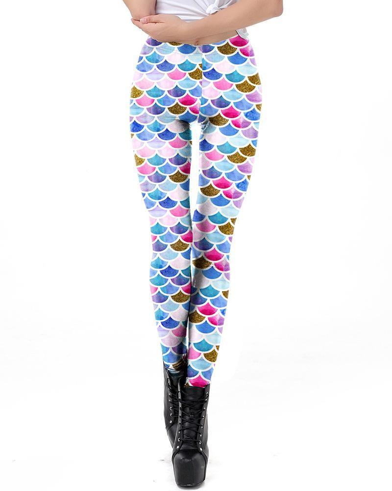Big Colorful Fish Scale Print Mermaid Leggings