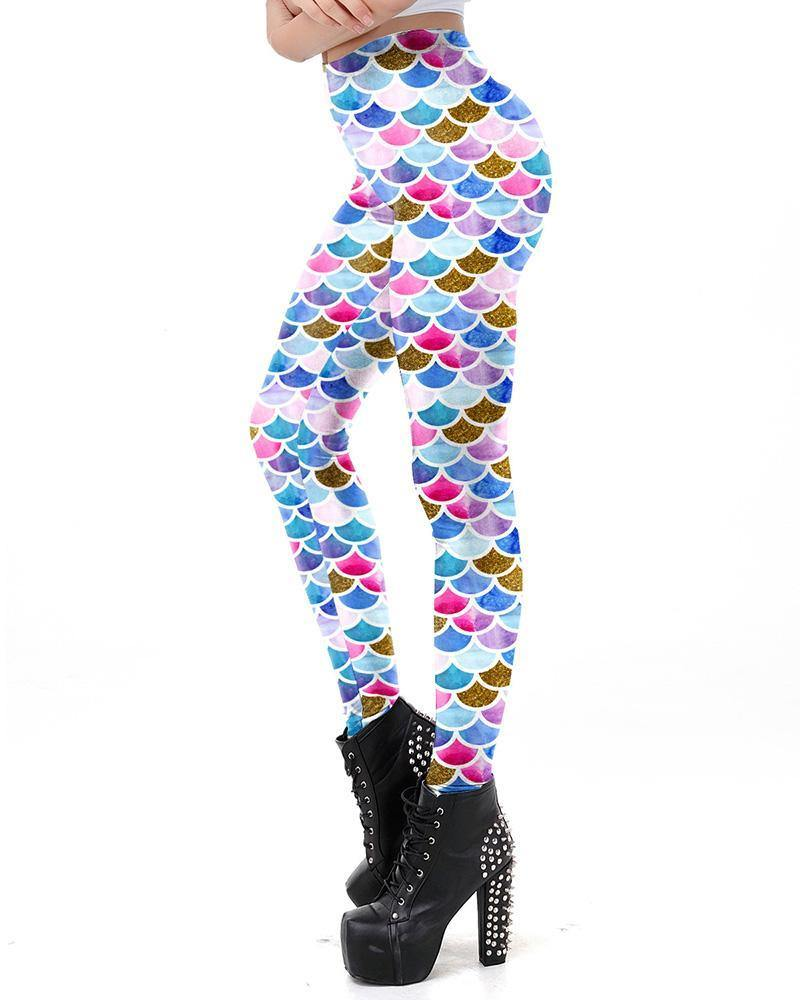 Big Colorful Fish Scale Print Mermaid Leggings - pinkfad