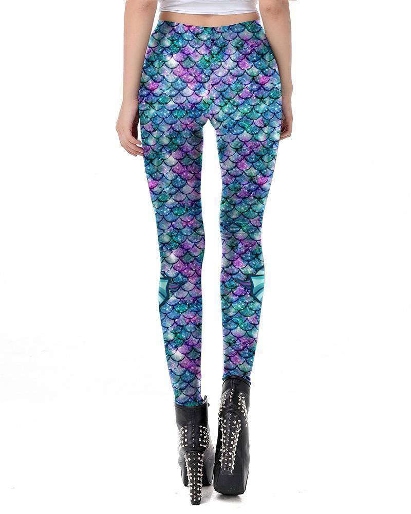 Blue Purple Green Fish Scale With Fins Print Mermaid Leggings - pinkfad